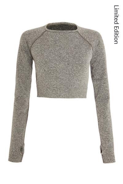 Grey Seamless Long Sleeve Crop Top
